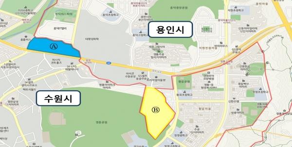 경계조정이 이뤄지는 수원시와 용인시 행정구역 (제공=수원시)